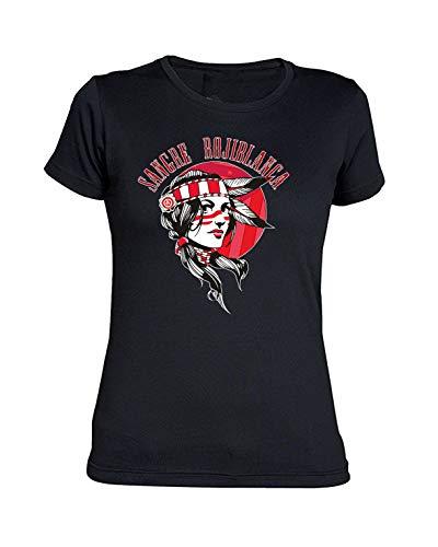 Camiseta Chica del Atlético de Madrid Sangre ROJIBLANCA (Negra, L)