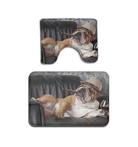 2-teiliges Badezimmermatten-Set, Motiv: Englische Bulldogge, Rauchertrinken, Wein, Teppich, rutschfeste Fußmatte
