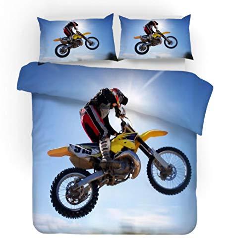 PANDAWDD Bettwäsche Bettbezug 3D,3D Motocross Biker/140X200cm Superweiches Mikrofaser Wende Bettwäsche-Sets - Bettbezüge Mit Reiverschluss + 2 Kissenbezge 50 X 75 cm Bettwäsche