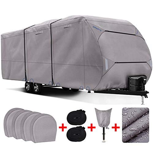 RVMasking Heavy Duty 300D Top Windproof Travel Trailer Cover for RV Camper Motorhome with 4 Tire Covers, Tongue Jack Cover, 31.7-34 ft