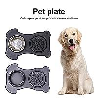 犬 食器 ステンレス鋼の洗面台ペットのディナープレートステンレス鋼洗面台ペットボウル水食品ペットフィーダーノンスピルスキッドシリコーン (Color : S Black, Size : 1 pcs)