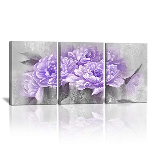 3 Piece Purple Flower Canvas Wall Art Print Bloom Peony Floral Picture for Office Bathroom Bedroom Vintage Purple Wall Decoration Home Art Framed 12'x16'x3PCS