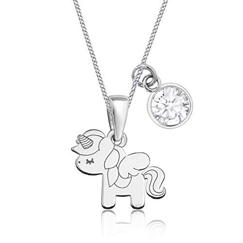 Zirkonia Pegasus Einhorn Anhänger mit Halskette 925 Echt Sterling Silber Pferd Kette für Mädchen Kinder (CZ Weiss, 38)