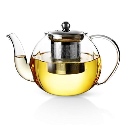 Teiera Fine di vetro borosilicato Vevouk,Stovetop e microonde sicura, infuso inossidabile amovibile, ideale per il tè a foglie sciolte, grande capacità - 33 oz   1000 ml (3-4 tazze)