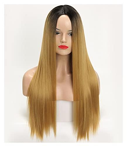 Bfuns Parrucca, mezza lunghezza, capelli lisci, copricapo in fibra chimica della gradiente di seta ad alta temperatura femminile rwe99d6