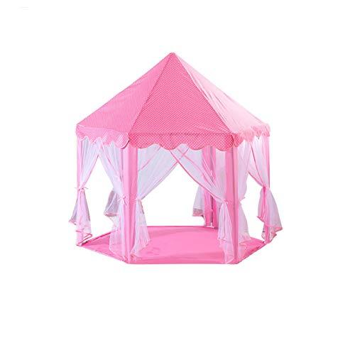 XZGang Casas de juegos Jugar tiendas de campaña, guardería juego de la tienda de los indios norteamericanos Yurt tiendas de campaña hexagonal Tent - azul y rosa - castillo de cuento de tienda de campa
