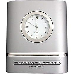 LXG, Inc. George Washington University - Brushed Silver Two-Toned Desk Clock