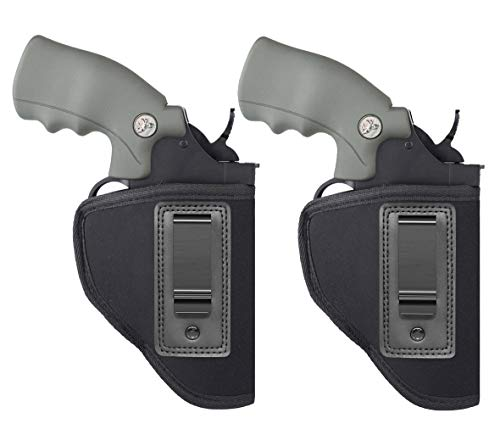 Anjilu 2-Pack Revolver Holster Carry Inside or Outside The Waistband | Fits Most J Frame Revolvers/Ruger LCR/Smith & Wesson Body Guard/Taurus/Charter/Most .38 Special Type Guns
