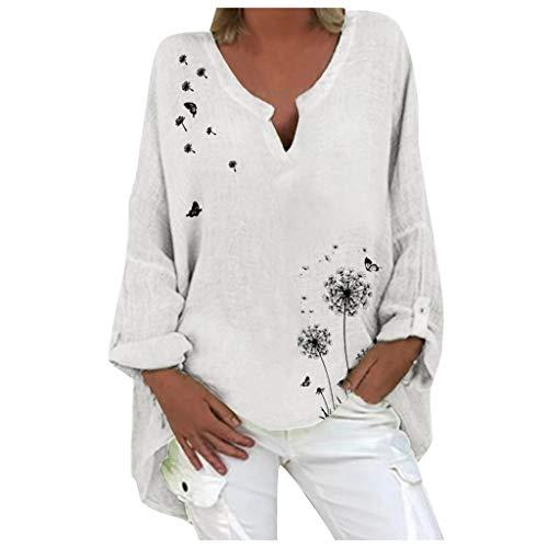 Kanpola Blusen Damen Sommer Herbst Langarm Shirts Leinen Pusteblume Druck Longshirt Oversize Locker V-Ausschnitt Hemdbluse