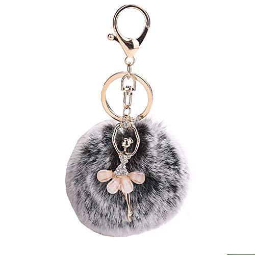 Faux Fox Fur Pom Pom Ball Keychain with Ballet Dancer Purse Bag Charm Fluffy Ball Key Chain for Women Bag or Cellphone or Car Pendant (Snow Black)
