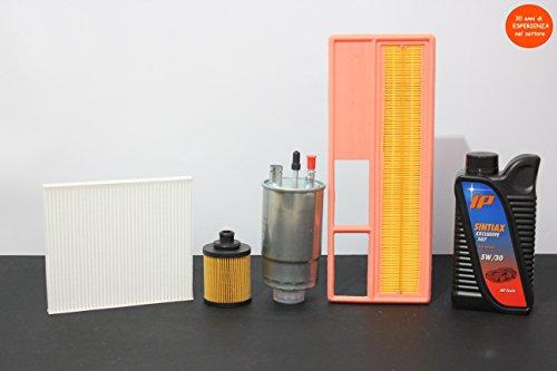 4 filters (lucht- en oliefilter) + 4 liter olie