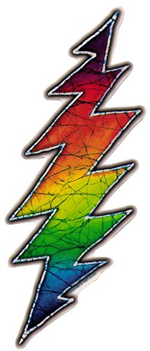 Grateful Dead Rainbow Lightening Bolt - Window Sticker / Decal (9' X 3.5')