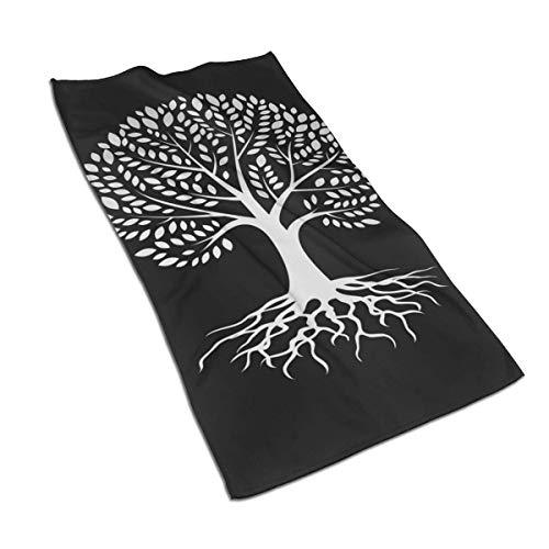 N/Q Juego de toallas de microfibra absorbentes y suaves y duraderas, diseño de silueta de árbol, 40 x 70 cm