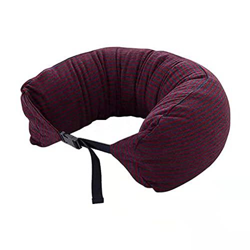 Almohada PortáTil En Forma De U Cojin Cuello Es Conveniente Y CóModa Adecuada para Almohada Cervical De Viaje Almohada En Forma De U Vino a Rayas Rojas