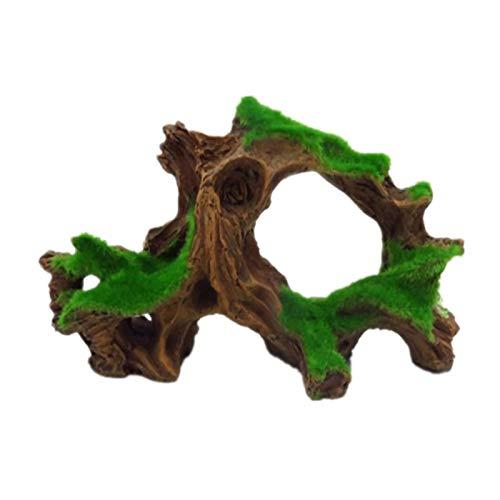 Hamiledyi - Acuario de Madera para Acuario, Cueva de pecera con Musgo de Resina, Adorno para el Tronco del árbol del Acuario (1 Pieza de Madera de Deriva y 5 piñas de Pino)