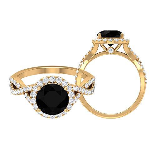 Piedra de nacimiento agosto — Solitario, forma redonda, 8 mm, anillo de espinela negra con halo moissanita 2,46 ct, anillo de vástago espiral, 14K Oro amarillo, Size:EU 50