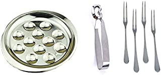 Set of Stainless Steel Plate Dishes Tong 4 Forks for Snail Escargot 12 Compartment Holes