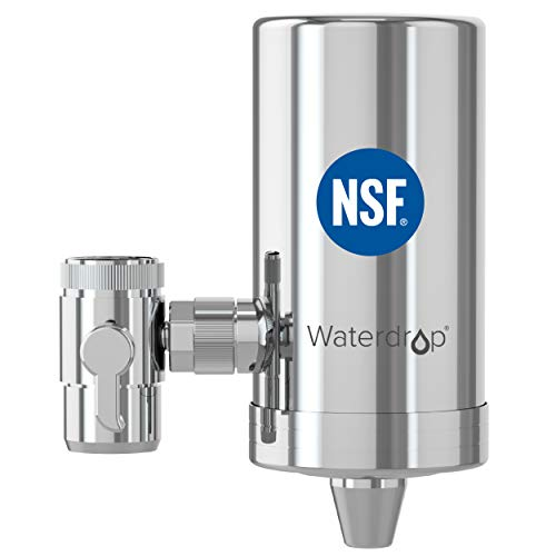 Waterdrop WD-FC-06 NSF Certified Stainless-Steel Faucet Water Filter, Carbon Block Water Filtration System, Tap Water Filter, Removes Chlorine, Heavy Metals and Bad Taste (1 Filter Included)