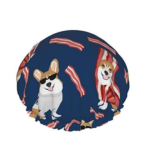 Corgi Loves Bacon Dog In Bacon Disfraz Gorros de ducha para perros - Gorro de bao elstico multiusos Gorros impermeables para el cabello para spa/saln/uso domstico/hotel/viajes