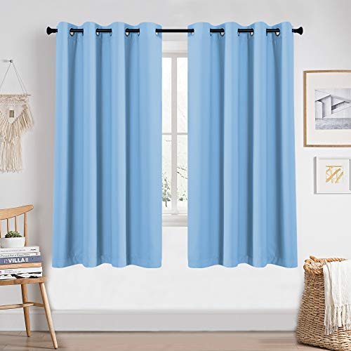 Light Blue Blackout 63 Inch Length for Boys Room Nursery 2 Panels Blackout Grommet Window Drapes Thermal Insulated Light Blocking Room Darkening Curtains for Girls Bedroom Kids Room Each is 52x63
