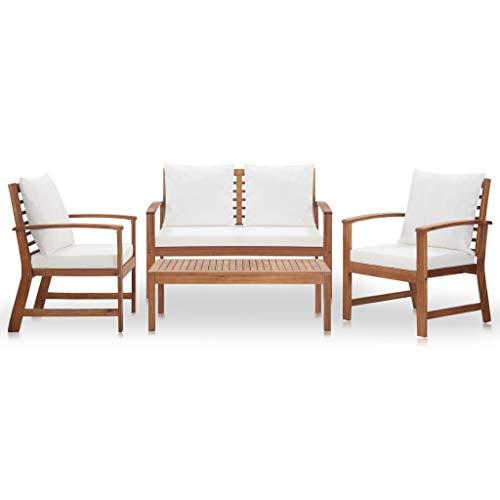 Goliraya 4 Piezas Juego de sofás de jardín de Madera Maciza de Acacia, salón de jardín, Juego de Muebles de jardín, Mesa Rettangoalre + Banco de 2 plazas + 2 sillones de jardín para Exterior