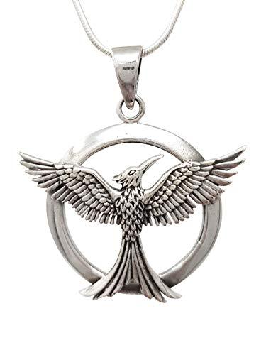 TreasureBay Colgante de pájaro circular de plata de ley 925 con cadena de plata, colgante para hombre y mujer