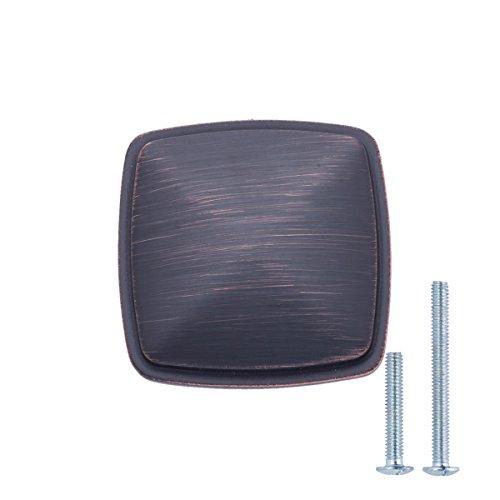 Amazon Basics - Pomolo quadrato per mobili, stile classico, Diametro: 3,17 cm, Bronzo anticato, Confezione da 10 pezzi
