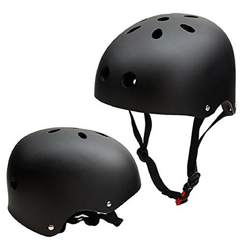 SymbolLife Casque de Skateboard, Casque de Vélo et Véhicule Casque de Ski Enfant ABS Protections de Réglable Protecteur de Cyclisme BMX Roller pour Adolescent Adulte, Taille L, Noir