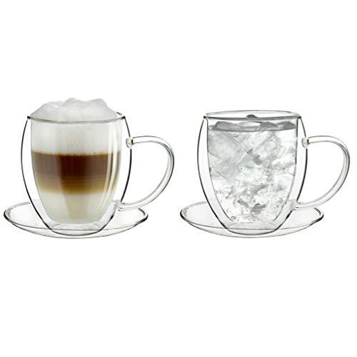 Creano doppelwandiges Thermoglas 250ml, 2er-Set, großes hitzebeständiges Teeglas BZW. Kaffeeglas aus Borosilikatglas, Tasse mit Untertasse, Glas