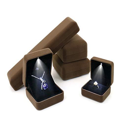 Newest Caja de joyería LED de franela con luz LED para el regalo de amante Anillo de bodas Pendiente Pendiente de Pantalla Pantalla de almacenamiento Cajas de joyería y caja de anillo de embalaje