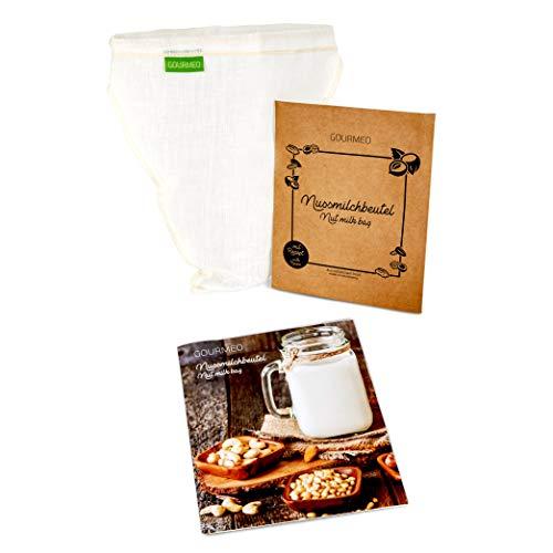 GOURMEO Nussmilchbeutel aus natürlicher Hanffaser V-förmig, für vegane Nussmilch & Mandelmilch - Feinmaschiges Filtertuch, Seiher, Passiertuch