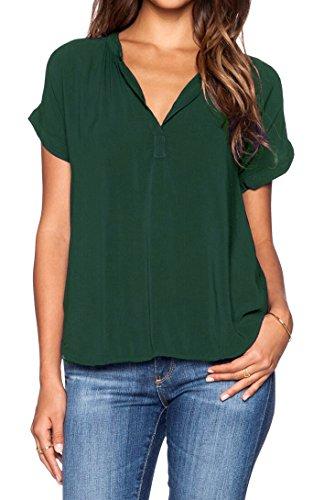 LILBETTER Women Chiffon Blouse V Neck Short Sleeve Top Shirts (Dark Green,Small)