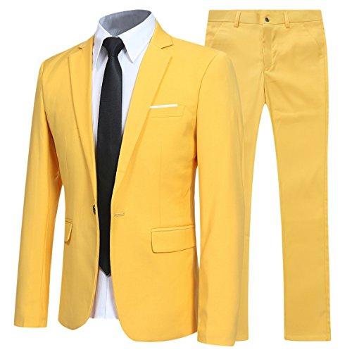 Allthemen Allthemen Herren 2-Teilig Slim FIT Business Anzug Gold Large