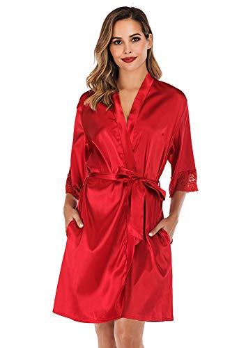 ABirdon Kimono morgonrock för kvinnor satin badrock nattlinne sned V-ringad kimono rock nattkläder, Röd, S
