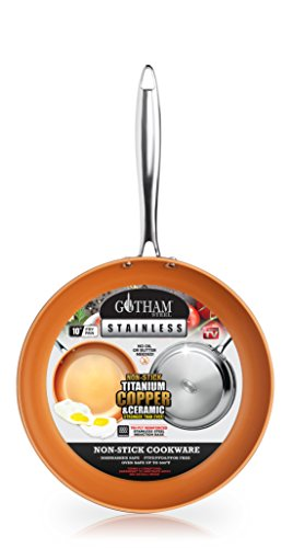 """Gotham Steel Stainless Steel Premium 10"""" Frying Pan, Triple Ply Reinforced with Super Nonstick Ti- Cerama Copper Coating and Induction Capable Encapsulated Bottom – Dishwasher Safe"""