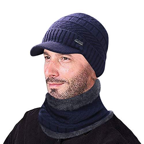 YXIU Herren Winter Warme Mütze Gestrickte Beanie Mütze mit Schirm, Strickmütze Winddicht Schal 2 Stücke Set (Blau)