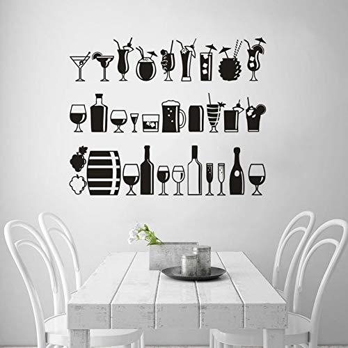 Vielzahl von Getränkesaft Vinyl Wandaufkleber Restaurant Bar Dekoration Alkohol Bar Getränk Wanddekoration Nacht Bar Getränk Home Dekoration Wandbild A3 57x46cm