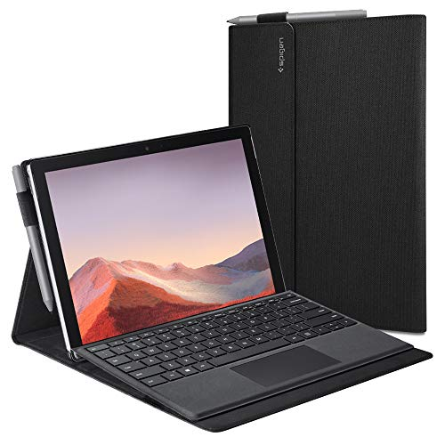 Spigen Stand Folio Kompatibel mit Microsoft Surface Pro 7 Plus (2021) / Pro 7 Hülle (2019) / Surface Pro 6 Hülle (2018) - Schwarz