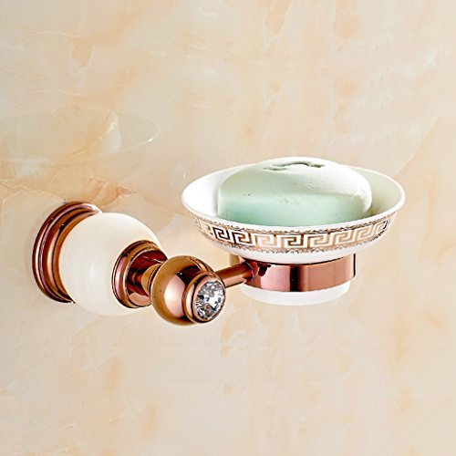 Emerald Rose Bronze soap Holder soap European net Soapbox (Color : White)
