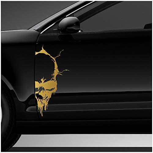 Finest Folia Skull Doodshoofd-sticker, sticker, decoratiefolie, autosticker, tattoo voor auto, vrachtwagen, caravans 50x24 cm (D093) goud