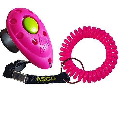 ASCO Clicker da Dito Premium con Bracciale a Spirale per clicker Training, clicker Professionale per Cani, Gatti e Cavalli, clicker per addestramento Cani, Rosso AC08FS