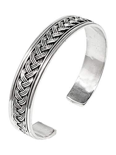 TreasureBay Brazalete de plata de ley 925, brazalete abierto de plata
