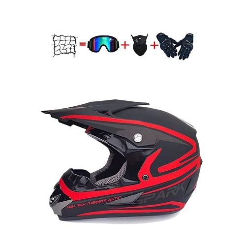Casco Motocross Niño,Diseñado con Diseño Genial Cascos De Motocross Cascos De Cross De Moto Set con Gafas/Máscara/Guantesserie De Color Mate,Rojo (S),L