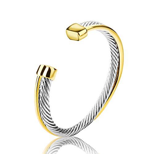 UNY Fashion Jewellery Edelstahl Zweifarbig Gedrehtes Kabel Draht Armreif Manschette Armband für Frauen Vergoldet und Versilbert