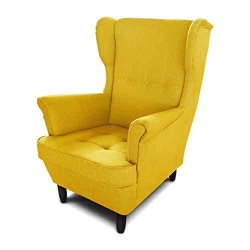 Ohrensessel Sessel King - Lounge Sessel mit Armlehnen - Retro Stuhl aus Stoff mit Holz Füßen - Polsterstuhl für Esszimmer & Wohnzimmer (Gelb (Vidar 66), ohne Hocker)