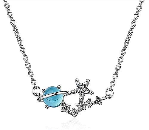 ZGYFJCH Co.,ltd Collares Collar de Mujer Collar de Hombre Collar de Estrella Dulce Planeta Mujer Collar de Gargantilla de circonita Azul de Cristal Colgante de Cadena para Mujeres Hombres