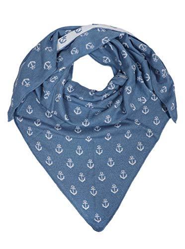 Zwillingsherz Dreieckstuch mit Baumwolle - Hochwertiger Schal mit Anker Print für Damen Jungen Mädchen - XXL Hals-Tuch und Damenschal - Strick-Waren - für Winter Sommer von Cashmere Dreams bl/wie