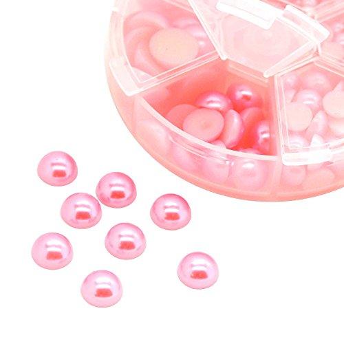 1 Box / 690 Schmucksteine Cabochons Klebesteine Kuppel 4~12x2~6mm, Farbwahl, Farbe:rosa