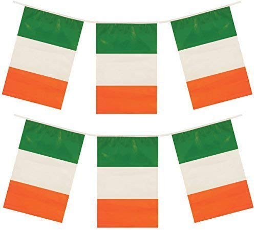 IRLANDE IRLANDAIS jour de la St.Patrick IRLANDE plastique fête soirée Décorations BRUANT DRAPEAUX - vert, blanc, orange, 24ft of Bunting