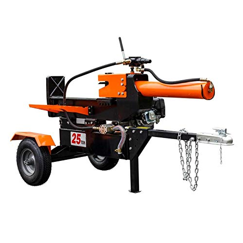 Check Out This 9TRADING 25-Ton Horizontal Vertical Full Beam Gas Hydraulic Log Splitter w Hitch Towi...